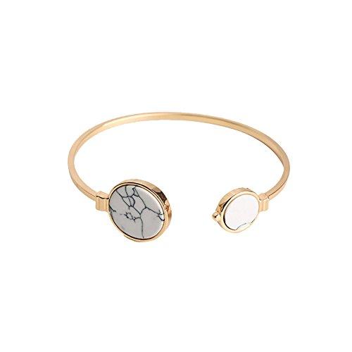 Qinlee Armbänder Öffnung Armreifen Marmor-Muster Armschmuck Hochzeiten Bankette Party Mode Geschenk für Damen Mädchen (gold-White)