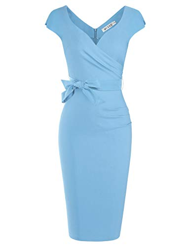 MUXXN Women's Double V Neck Pleated Flared Waist Bandage Bodycon Working Dress (Airy Blue S)