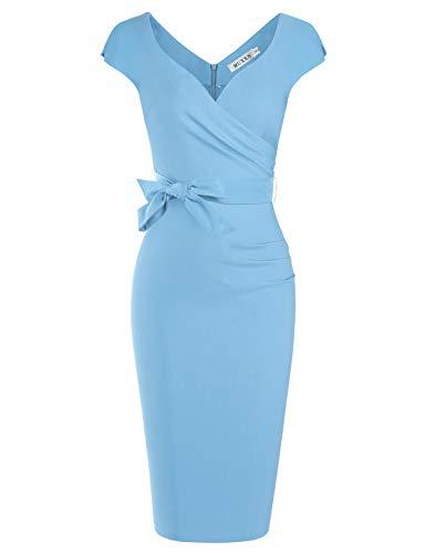 MUXXN Women Light Blue Retro 1960s Style Cap Sleeve Slim Party Occasion Dress (Airy Blue L)