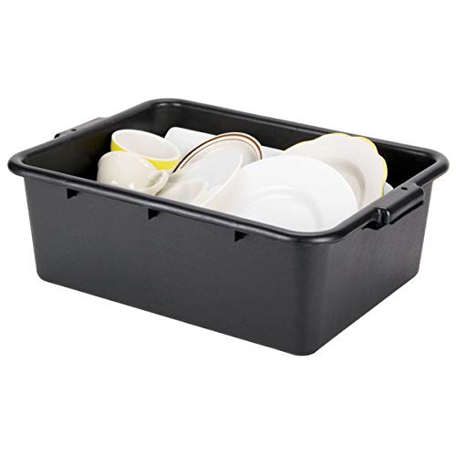 Utility Tote Carry Caddy for Dishes//Fruit 20 x 15 x 7, Black, Pack of 1 tekbotic Foodservice Plastic Bus Tub//Lug Rack//Food Storage Box//Bulk Mover