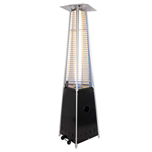FLAMY Gas Pyramid Patio Heater Outdoor Garden,Commercial gas heater,large area heating,stepless adjustment,with movable wheels,suitable for indoor and outdoor use - black,stainless steel