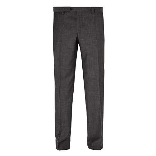 Benvenuto Black - Modern Fit - Herren Baukasten Hose Gemustert aus Super 100'S Schurwolle, Nero (20826, Modell: 62400)