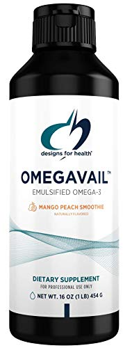 Designs for Health OmegAvail Smoothie - Omega 3 TG Triglyceride Fish Oil Emulsion with DHA + EPA - Liquid Supplement for Cardiovascular + Brain Support, Mango Peach Flavor (43 Servings / 16oz)