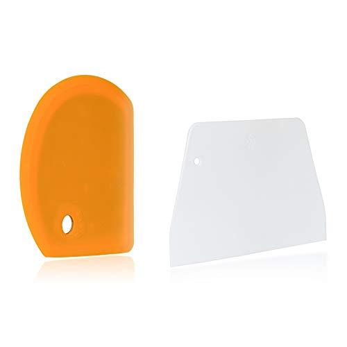 Sapid Flexible Silicone Bowl Scraper Plastic Pastry Scrapers Set, XL Bench Dough Scraper for Baking Sourdough Bread, Cake, Pizza, Heat- Resistance Kitchen Dish Scrapers (5.98'×4.3', Orange)