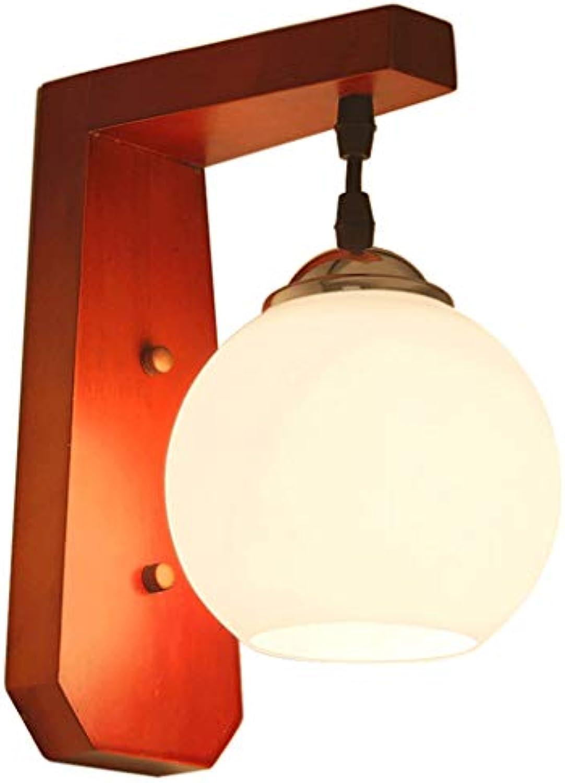 Weiyue Wandlampe- Vintage massivholz wandleuchte glas schlafzimmer nacht wohnzimmer wand korridor gang studie beleuchtung (Farbe   Rot-16x25cm)