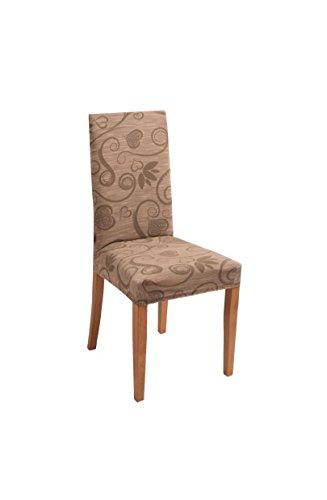 Bed Store - Joker Coprisedia vesti sedia millerighe elasticizzato 2 pezzi linea Cuori (CACAO)