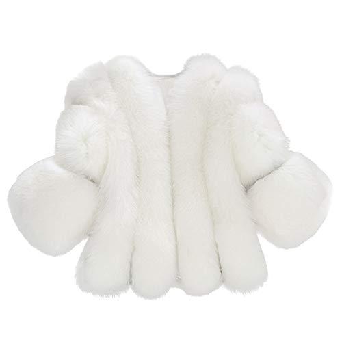 iHENGH Damen Herbst Winter Bequem Mantel Lässig Mode Jacke Frauenmode Feste Jacken Pelz Kurze Nähte Faux Pelzmantel(Weiß, M)
