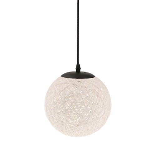 Lámpara de Techo Forma de Bola de Tela Tejida de Mimbre Luz Colgante Interior 20CM Decoración de Cafetería de Restaurante de Hogar - Blanco