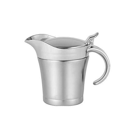 Baiteng 304 - Salsera de acero inoxidable con doble aislamiento, para salsa de plata, plato de hierro para zumo, 450 ml, Navidad para reunión familiar 450 ml plata