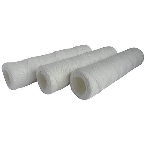AQUAWATER - 105004 - Lote 3 cartuchos de filtro anti-sedimento herida - 20 micras de tamaño estándar de 10'