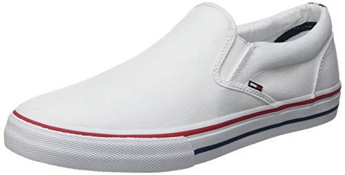 Tommy Hilfiger Herren Slip ON Tommy Jeans Textil-Slipper, weiß, 44 EU