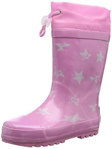 Playshoes Kinder Gummistiefel aus Naturkautschuk, trendige Unisex Regenstiefel mit Reflektoren, mit Sternen-Muster, Pink (rosa 14), 34/35 EU