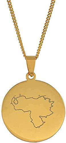 Yiffshunl Collar Collar Redondo con Colgante Mapa Venezuela Collares para Mujeres Hombres Joyería de Color Dorado Artículos venezolanos Moda 60cm