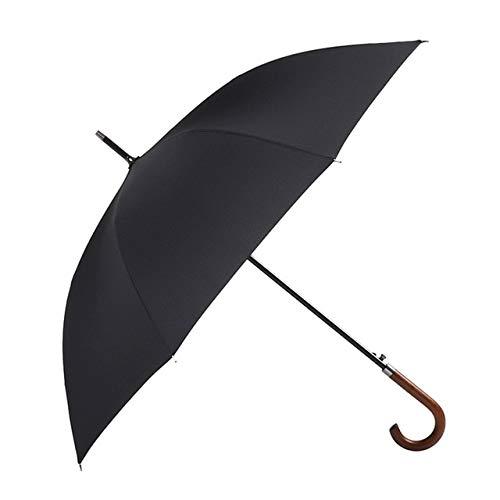 Regenschirm, 8 K, winddicht, Holzgriff, groß, für Herren, Regen-Qualität, klassisch, Business – Schwarz