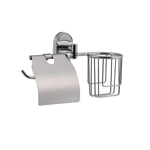 axentia Toilettenpapierhalter mit Aufbewahrungskorb als Ablage - WC Rollenhalter Wand mit Edelstahl Platte - Design Klopapierhalter zur Wandbefestigung im Bad