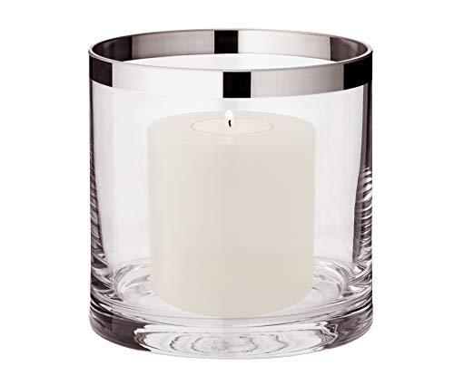 EDZARD Windlicht Molly, mundgeblasenes Kristallglas mit Platinrand, Höhe 15 cm, ø 15 cm Plus Dauerkerze Cornelius Höhe 9 cm