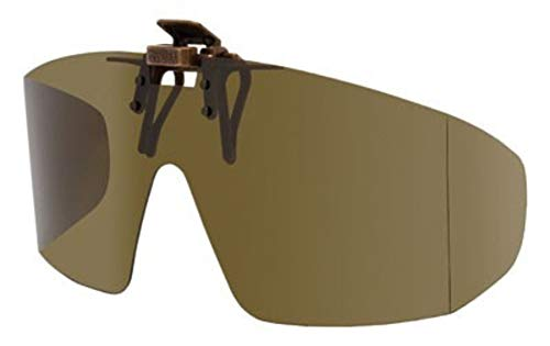Polarized Clip-on Flip-up Plastic Sunglasses - Wrap Style - Polarized Brown - 65mm Wide X 55mm High (140mm Wide) - Shade Control G-Clips