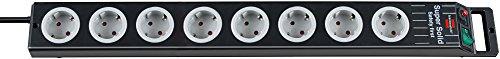 Brennenstuhl Super-Solid, Steckdosenleiste 8-fach (2,5m Kabel und Schalter - aus bruchfestem Polycarbonat) schwarz/grau