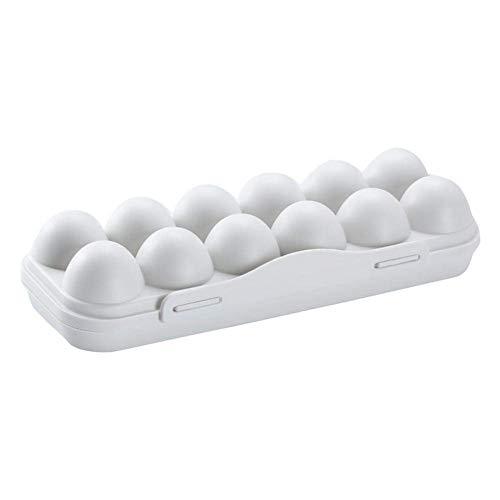 Soporte de bandeja de huevos/soporte de plástico para huevos/bandeja apilable para estantes de huevos de cocina contenedor de almacenamiento de huevos con tapa/para estuche de nevera portátil (gris-B)