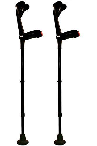 KMINA - Muletas adulto regulables aluminio, Muletas ortopédicas, Muletas ergonomicas, Muletas adulto acolchadas, Muleta COMFORT PLUS Pack de 2 unidades color negro ⭐