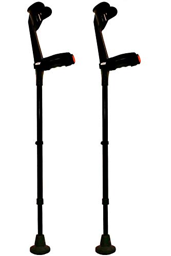 KMINA - Forearm Crutches (x2 Units, Open Cuff), Crutches Adult with Handle Pad, Forearm Crutches for Adults, Aluminum Forearm Crutches, Adjustable Crutches, Comfort Plus Black, x2 Units.