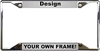 Custom Personalized 4 Hole Chrome Metal Car License Plate Frame with Free caps - Silver/Black