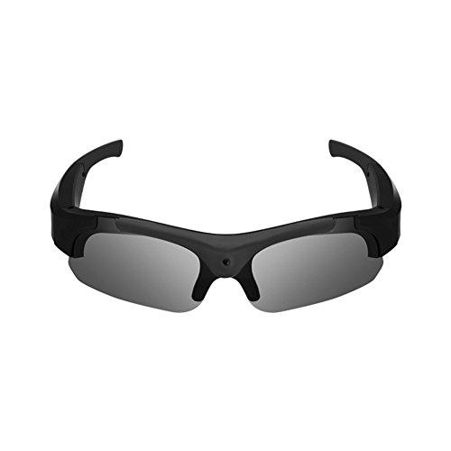 Z&HA Smart Kamera Brille Sonnenbrille Action Kamera 8 Millionen Pixel 1080 P HD Kamera, Tragbare Videokamera Videogläser Fahren Recorder Sport Polarisierte Gläser,Black