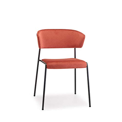 Scab Design Lisa poltroncina Gambe verniciate Antracite e scocca in Velluto Corallo