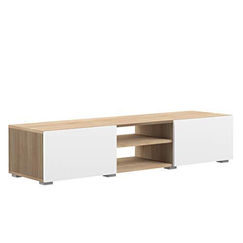 Movian Lijoki - Mueble para TV, 140 x 42 x 31cm (largo x ancho x alto), roble y blanco