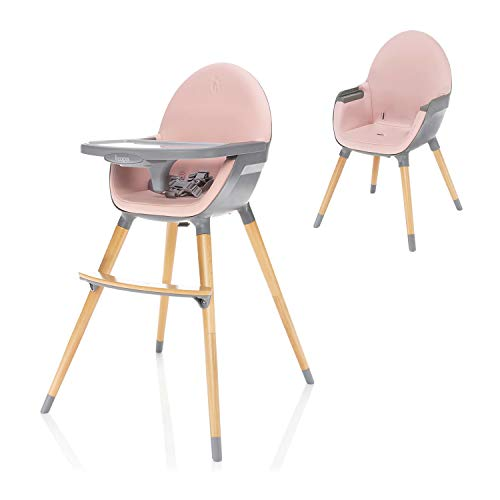 ZOPA Holzhochstuhl DOLCE - ab dem 6. Monat und bis 15 kg, In drei Positionen einstellbares Esstischchen, Kinderhochstuhl Treppenhochstuhl (Blush Pink/Grey)