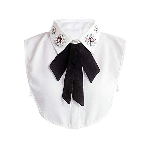 Joyci Detachable Bowtie Fake Collar Decorate Sweater False Collar Chiffon Formal Half Shirt for Woman (Black)