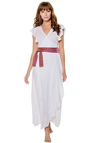Pitusa Women's Wovens Belted Wrap Dress Swim Cover Up White P