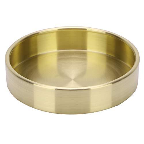 Agoky Runde Messing/Kupfer Dekorative Tablett Metall Lagerung Pallet Organizer für Tisch Büro Haus Gold 10cm