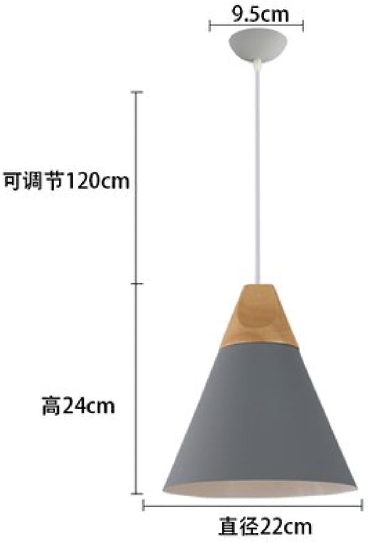 BESPD Modernes, minimalistisches Holz- Nordic kreative Speisen Kronleuchter Deckenlampe Pendelleuchte Mittelgrau