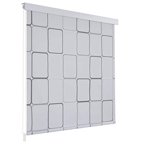 UnfadeMemory Duschrollo Badvorhang Schnelltrocknend und Wasserfest Duschvorhang als Raumteiler 100% Eva mit Aluminiumteilen Badezimmerdekor (120 x 240 cm, Quadratmuster)