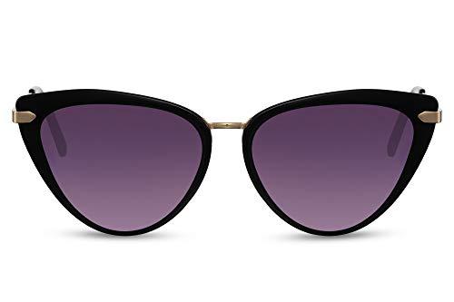 Cheapass Gafas de sol Happy Cateye Sunnies con montura negra con patillas de metal dorado y lentes degradados con protección UV400 para mujer