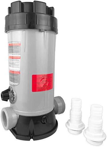well2wellness® Chlordosierer Chlor Dosierschleuse für insgesamt 4kg (20x200g) Chlortabletten Plus 2 Schlauchtüllen 32-38mm mit O-Ring