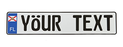 Custom European Style US State License Plate - 9 Characters (Customize Your Text & add Accessories)