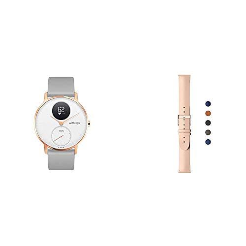 Withings Steel HR Hybrid Smartwatch - Fitnessuhr mit Herzfrequenz und Aktivitätsmessung, 36mm - Weißes, grau Silikonarmband & Erwachsene Lederarmband, Pfirsich & Roségold