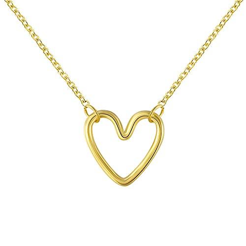 xu S925 Cadena de Amor de Plata esterlina Dulce Amor Hueco pequeño corazón de melocotón Cadena de clavícula Simple 金色
