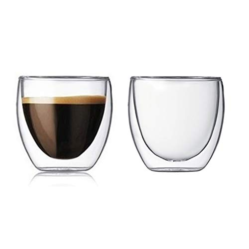 Set di 2 tazze da caffè in vetro isolato a doppia parete, tazze da tè in vetro, tazze da caffè trasparenti, 80 ml