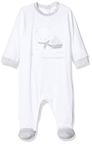Chicco Tutina Bimbo con Apertura Entrogamba Mono Corto, Blanco (Bianco 033), 52 (Talla del Fabricante: 056) para Bebés