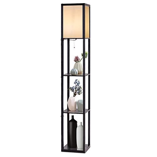 COSTWAY 160x26x26cm Stehleuchte Regal, Standleuchte Holz, E27 Stehlampe, Moderne Innenbeleuchtung mit 3-Ebenen, Bodenlampe für Schlafzimmer