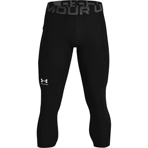 Under Armour UA HG Armour 3/4 Legging, komfortable und robuste 3/4 Sportleggings für Männer, leichte und elastische Trainingshose mit Kompressionspassform Herren, Black / White , L