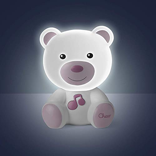 Chicco Lamparita Dulces Sueños - Lámpara quita miedos anti oscuridad, con luces y sonidos, diseño oso rosa
