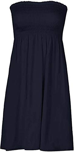 Loxdonz Women's Sun Strapless Tube Short Dress Summer Dresses Casual Mini Beach Cover Up (Small, Navy)