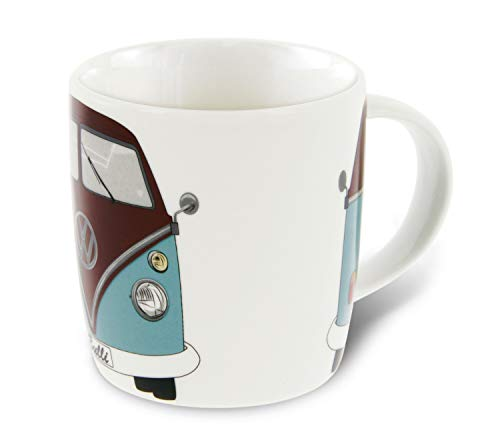 Brisa VW Collection - Volkswagen Furgoneta Hippie Bus T1 Van Taza Grande de Café de Porcelana (New Bone China) en Caja de Regalo, Copa de Té, Decoración de la Mesa (Frente/Azul)