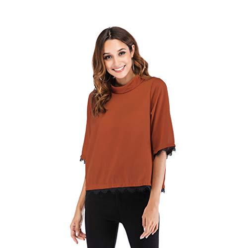 Bfmyxgs Elegant Spitzen Women Patchwork Seiden Lang Sweatshirt Pullover Lace Personality Back Lap Top Blouse Half Sleeves