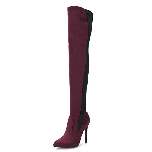 Super-High-Heel-Oberschenkelstiefel, Sexy, Stiletto Overknee-for Stiefel, 11CM Hohe for Stiefel Mit Hohen Absätzen Und Spitz Zulaufende Stretchstiefel Aus Wildleder ( Color : Wine Red , Size : 38 EU )