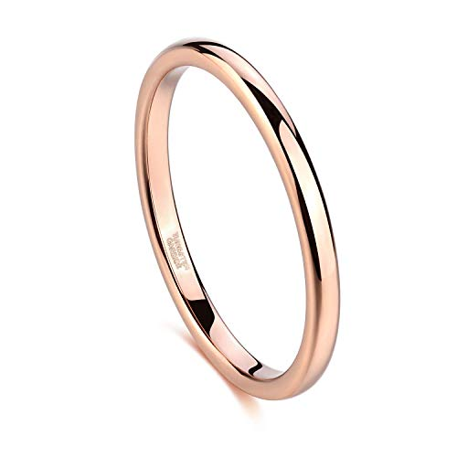 Greenpod 2mm Thin Tungsten Wedding Bands for Women Rose Gold Slim Domed Engagement Promise Ring Comfort Fit Size 7.5